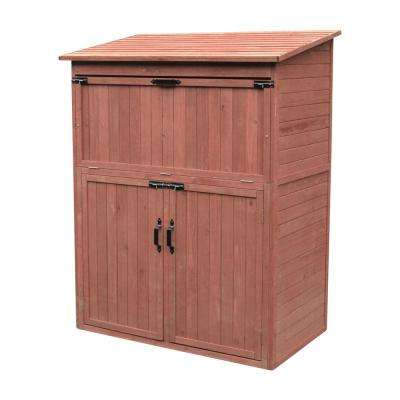 50 in. W x 29 in. D x 63 in. H Medium Brown Cypress Storage Shed Cabinet with Drop Table