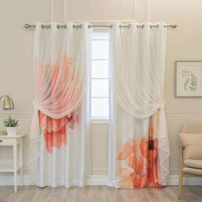 84 in. L uMIXm White Tulle and Faux Silk Orange Watercolor Blackout Curtain Panel (4-Pack)
