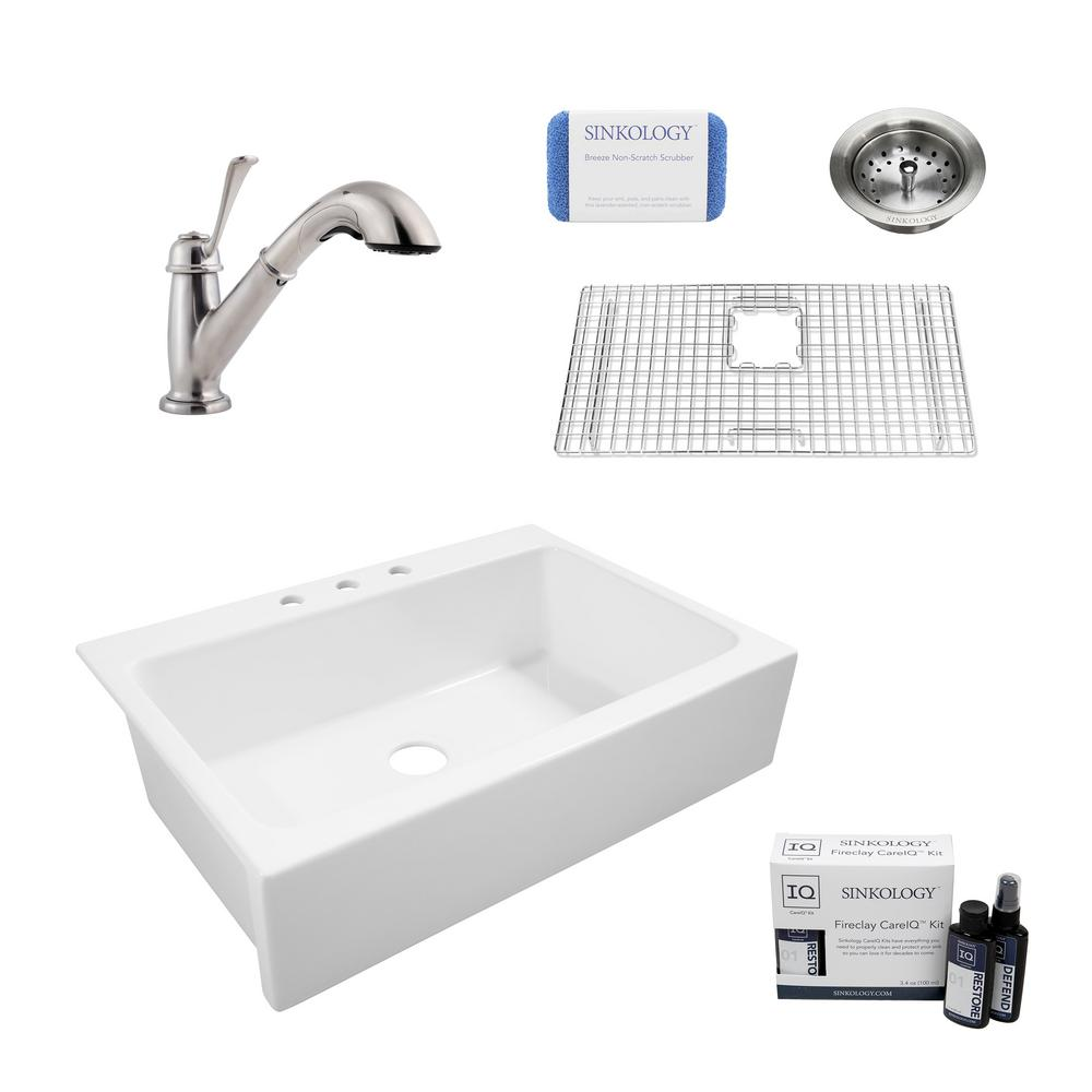 SINKOLOGY Josephine All-in-One Quick-Fit Farmhouse Fireclay 33.85 in. 3-Hole Single Bowl Kitchen Sink with Faucet and Strainer