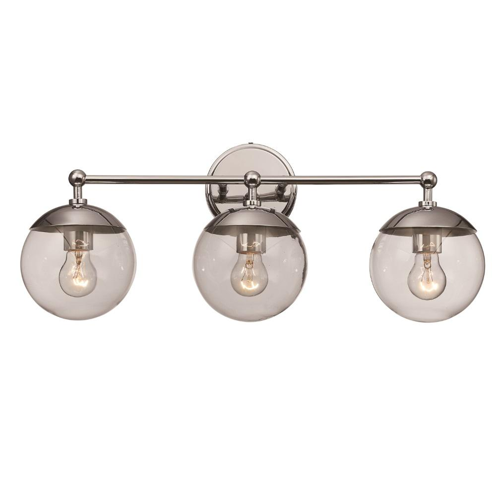 Riviera 5 in. 3-Light Polished Chrome Vanity Light with Clear Glass Globe Shades