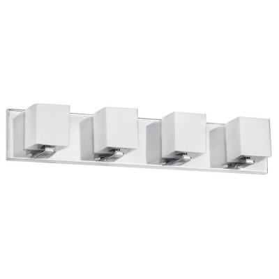 Taya 4-Light Polished Chrome Vanity Light with Frosted Glass