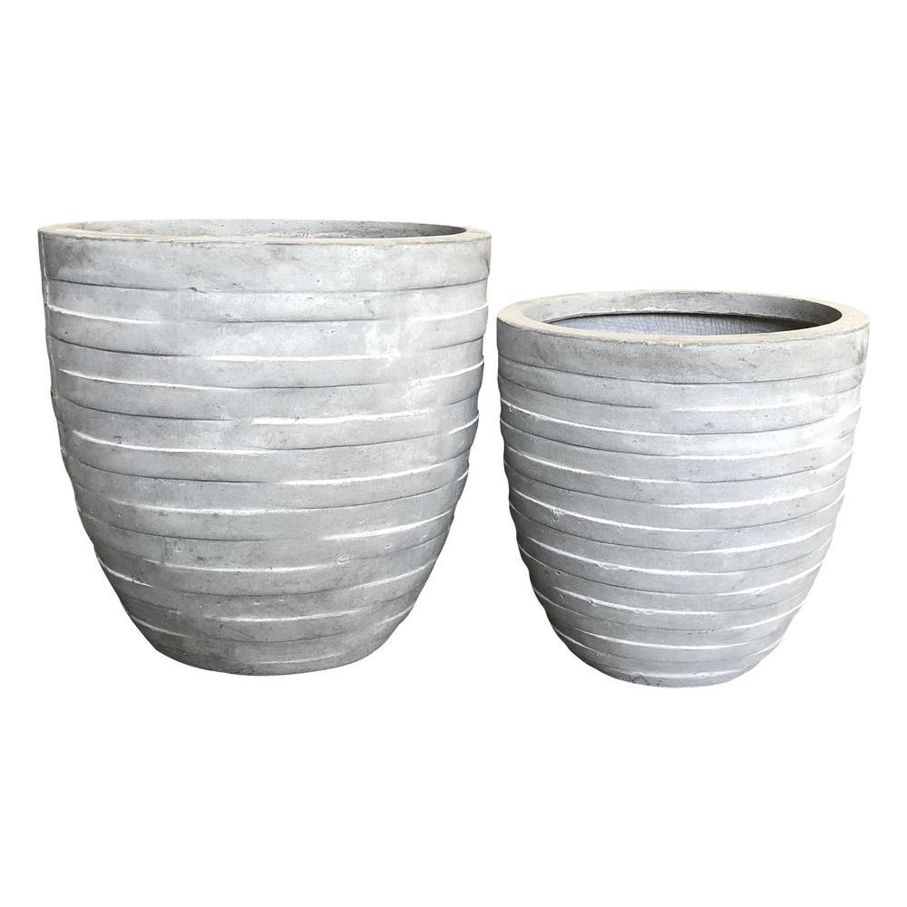 Durx Litecrete Lightweight Concrete Wicker Basket Weave Round Light Grey Planter Set Of 2