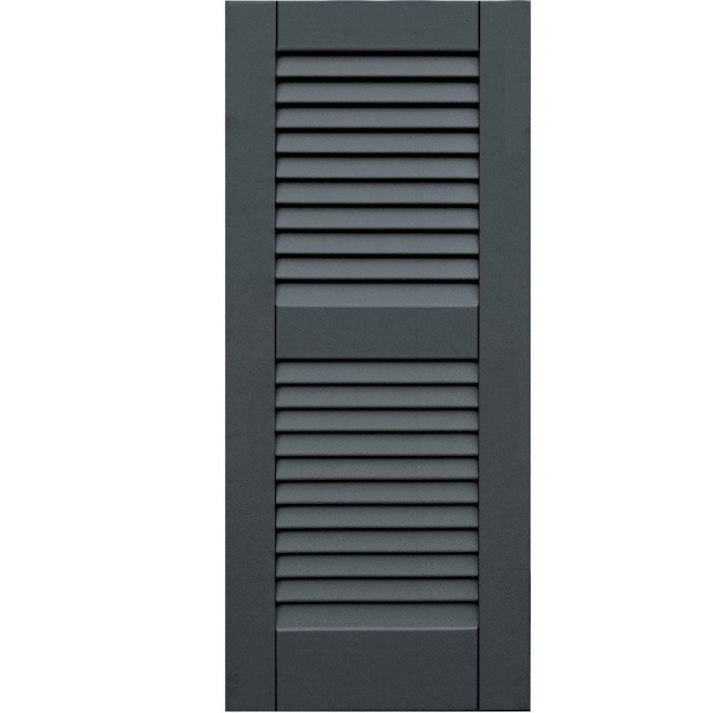 Winworks Wood Composite 15 in. x 35 in. Louvered Shutters Pair #663 Roycraft Pewter
