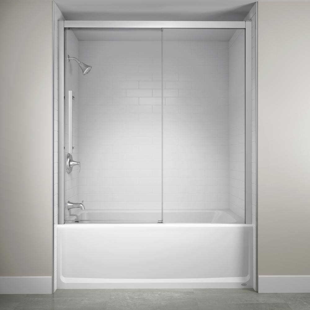 60 in. x 59 in. Semi-Frameless Concealed Sliding Shower Door in Chrome