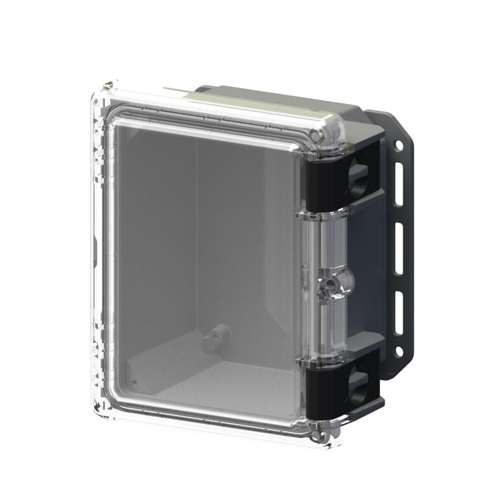 Serpac 9.7 in. L x 8.2 in. W x 5.5 in. H Polycarbonate Clear Hinged Latch Top Cabinet Enclosure with Gray Bottom