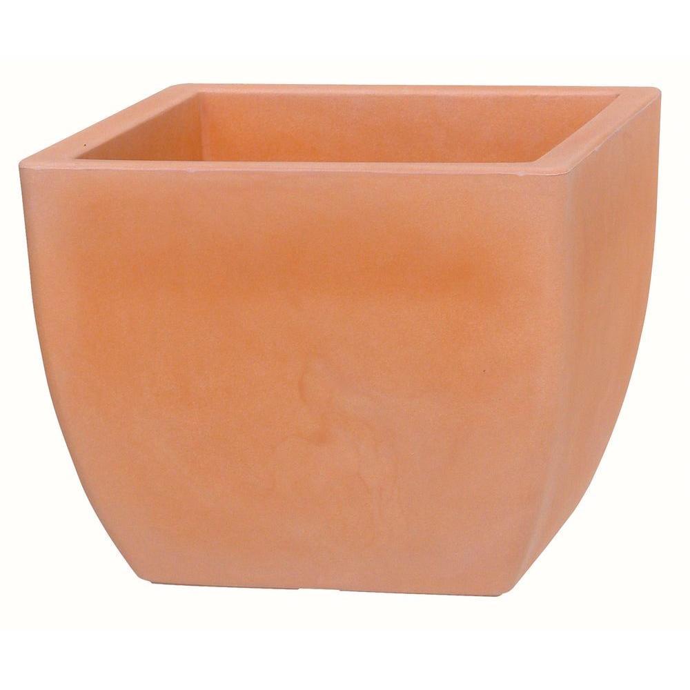 Marchioro 11.75 in. Dia Terra Cotta Plastic Curved Sides Planter Pot