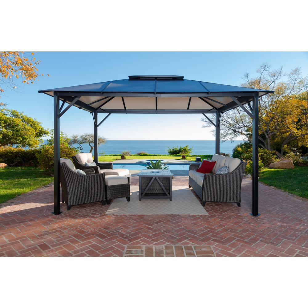 Durham 10 Ft X 12 Ft Aluminum Gazebo With A Wind Escapement Gz3582 The Home Depot