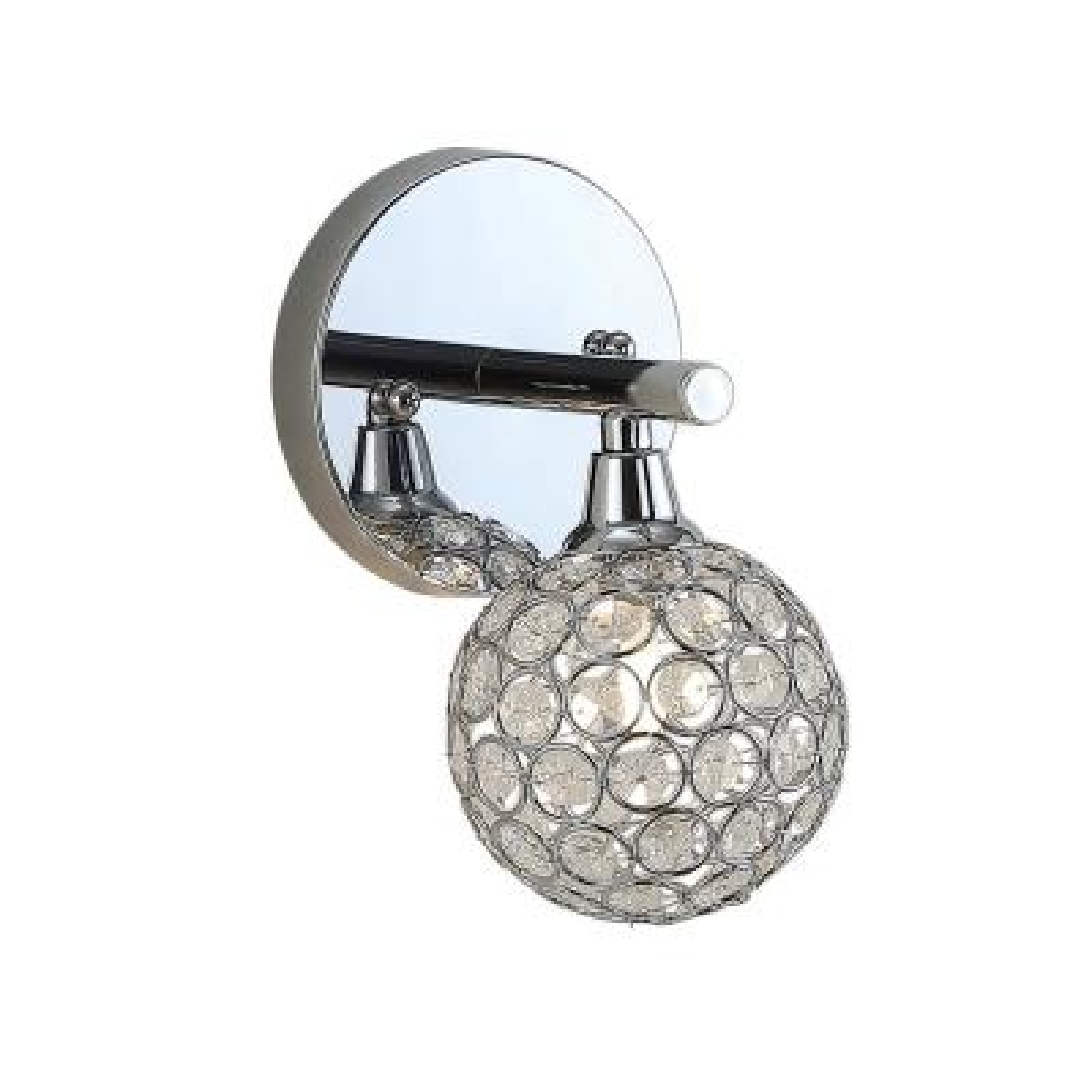 Maeve 4.75 in. 1-Light Iron/Glass Contemporary Glam LED Vanity Light, Chrome