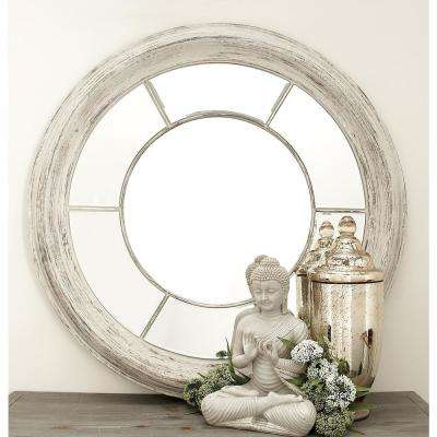 New Traditional Round Whitewashed Wall Mirror