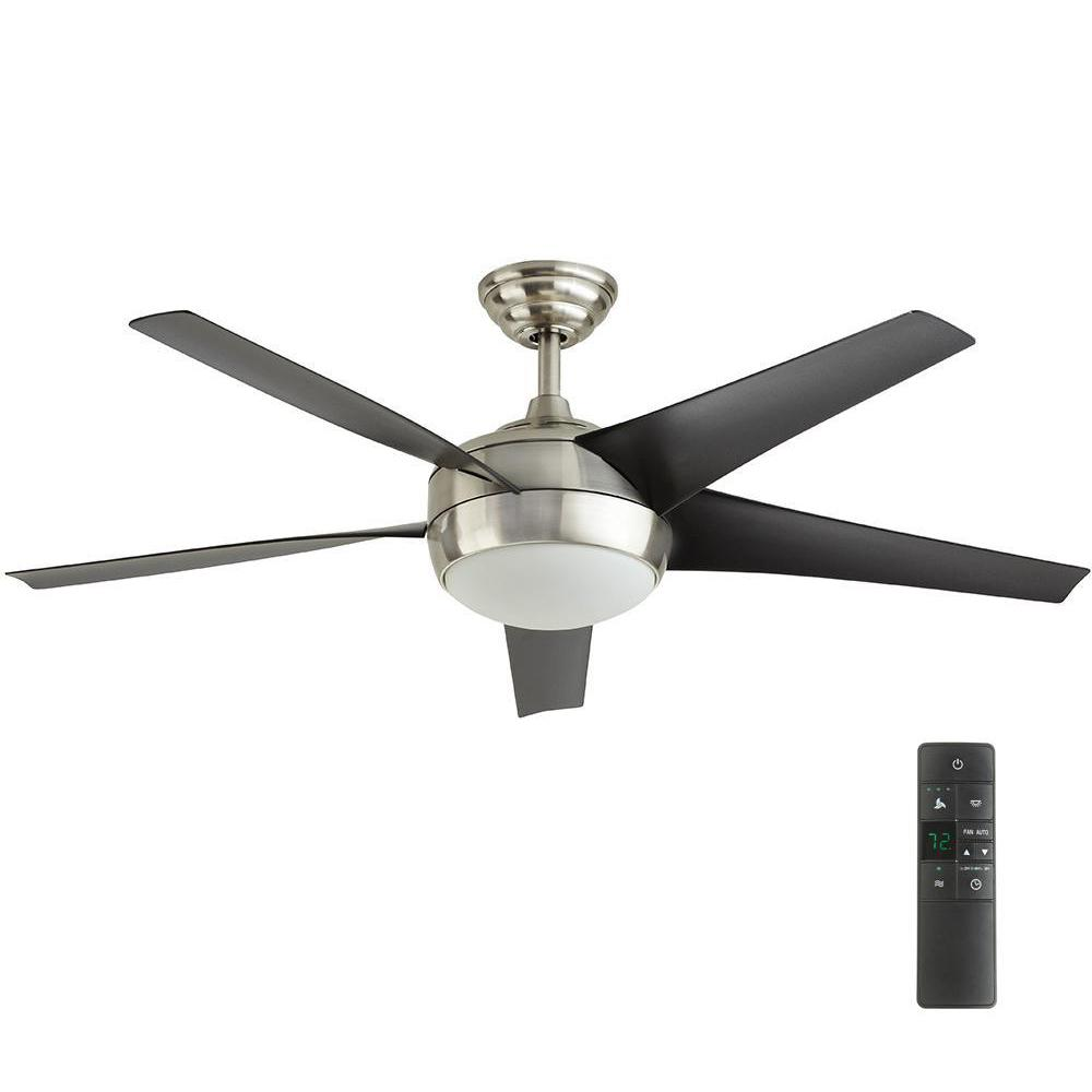 Home Decorators Collection Windward Iv 52 In Led Indoor Brushed Nickel Ceiling Fan With Light