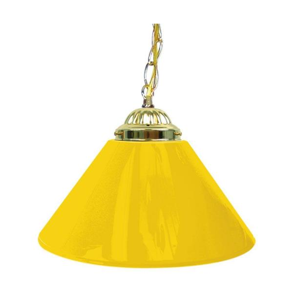 14 in. Single Shade Yellow and Brass Hanging Lamp