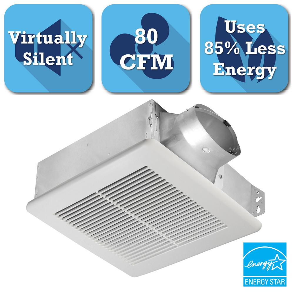 Slim Series 80 CFM Ceiling or Wall Exhaust Bath Fan