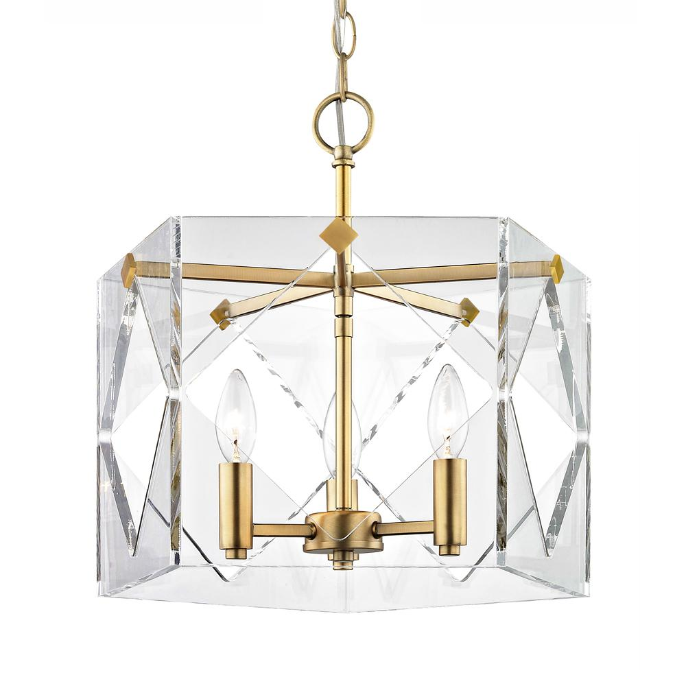 Fifth And Main Lighting Pentos 3 Light Aged Brass Acrylic Pendant