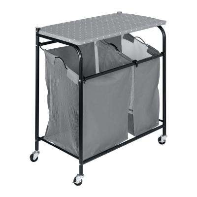 Black Steel and Fabric Laundry Sorter wtih Ironing Board