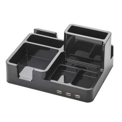OMD,Desk Organizer and Docking Station for iPad/iPhone/Tablet/Smartphone with 3 USB ports in Black