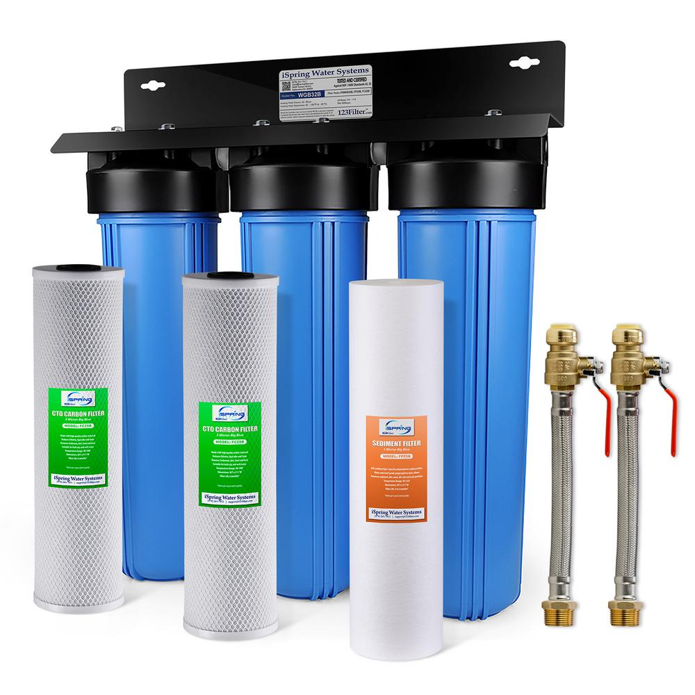 ISPRING 3-Stage Whole House Water Filtration System w/ 20x4.5 in. Big Blue Multi-Layer Sediment and Premium Carbon Block Filters
