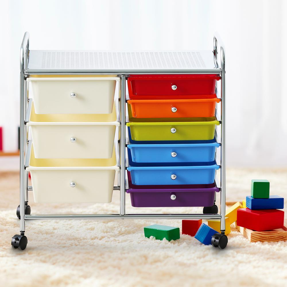 Wayar 6-Shelf Plastic 4-Wheeled 9-Drawer Trolley in Rainbow