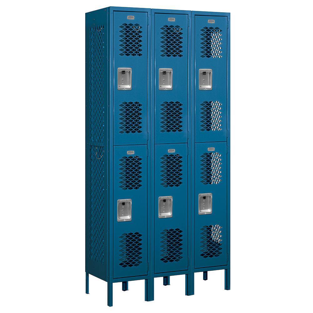 Salsbury Industries 72000 Series 36 in. W x 78 in. H x 15 in. D Double Tier Vented Metal Locker Unassembled in Blue