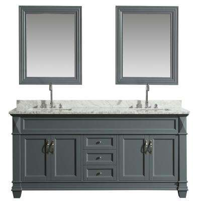 Hudson 72 in. W x 22 in. D Bath Vanity in Gray with Marble Vanity Top in White with White Basin and Mirror