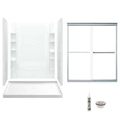 STORE+ 34 in. x 60 in. x 75.75 in. Center Drain and Backers Alcove Shower Kit in White and Chrome