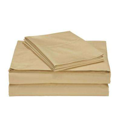4-Piece Gold Ultra Soft 1800 Series Bamboo Bed Sheets