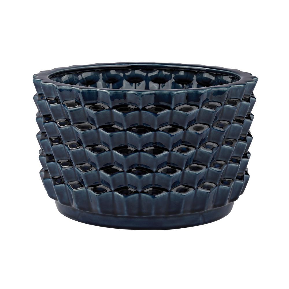 Accordion Crackled 7 in. Ceramic Decorative Vase in Blue