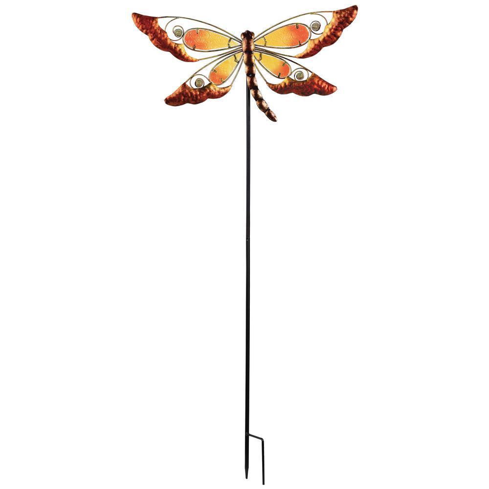 38 in. Orange Dragonfly Spring Stake
