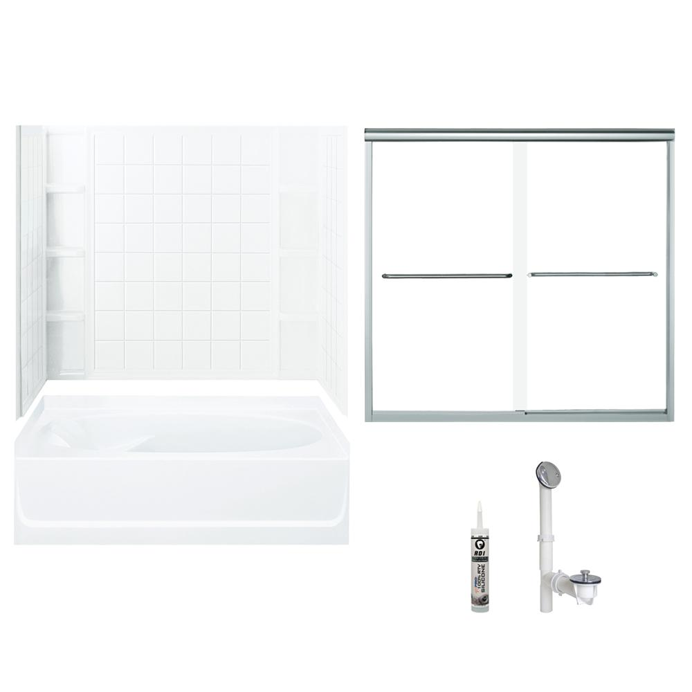 Ensemble 36 In. X 60 In. X 70.25 In. Bath And Shower Kit With Right Hand  Drain And Backers In White And Chrome