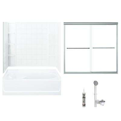 Ensemble 36 in. x 60 in. x 70.25 in. Bath and Shower Kit with Right-Hand Drain and Backers in White and Chrome