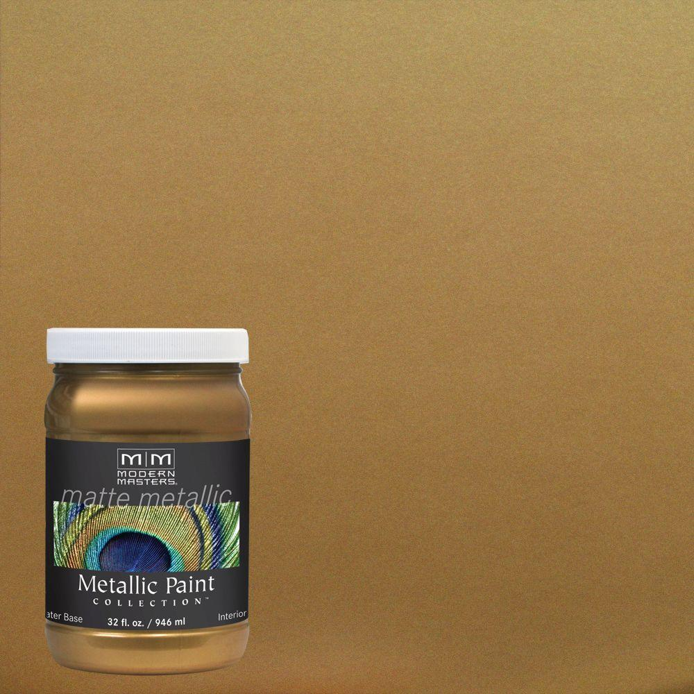 Modern masters 1 qt brass matte metallic interior paint for Matte finish paint for walls