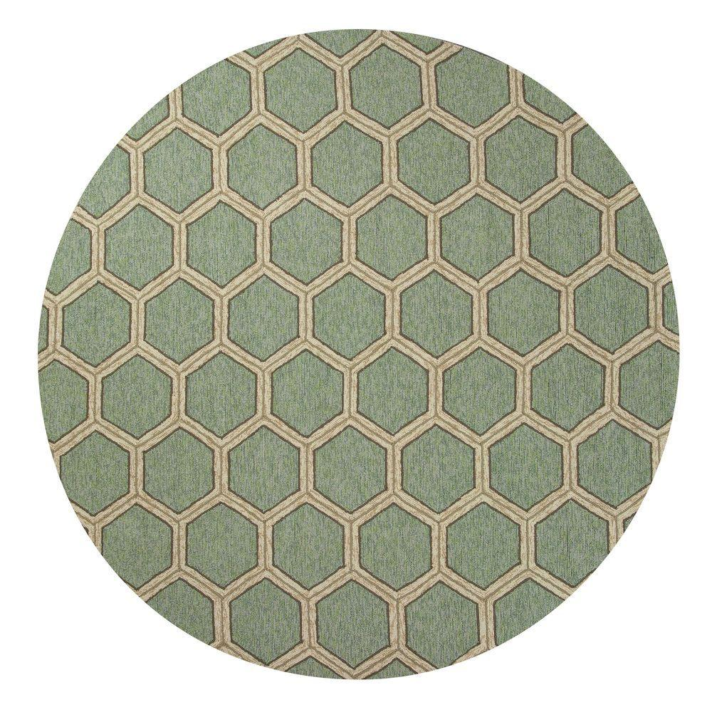 Kas Rugs Party Tiles Green/Cream 7 ft. 6 in. x 7 ft. 6 in. Round Area Rug