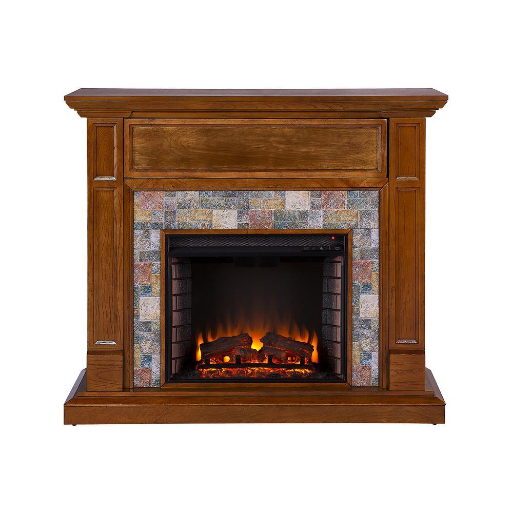 Serena 48 in. Faux Stone Media Electric Fireplace in Dark Sienna