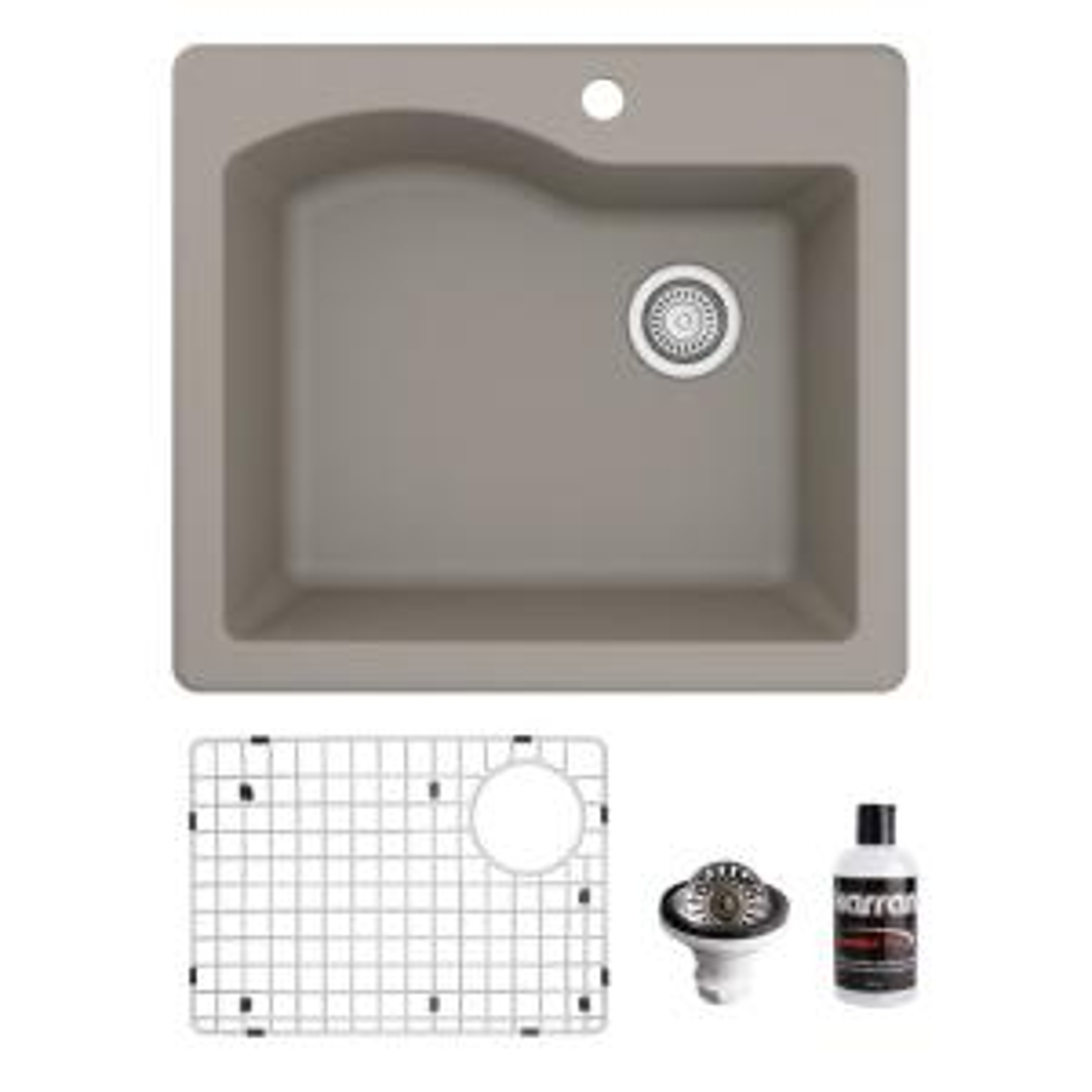QT-671 Top Mount Quartz Composite 25 in. Single Bowl Drop-In Kitchen Sink with Grid & Basket Strainer in Concrete