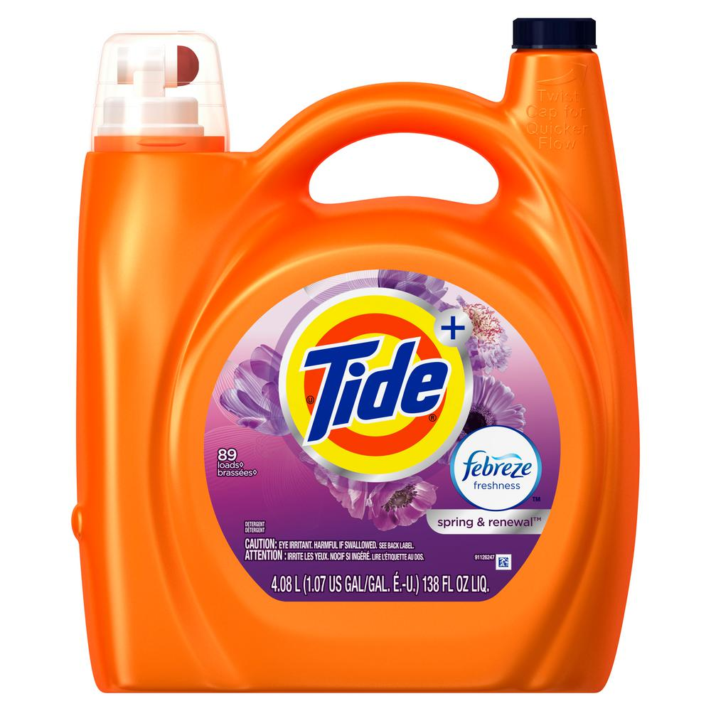 Tide 138 oz. Spring and Renewal Scent Liquid Laundry Detergent with Febreze Freshness (72-Loads ...