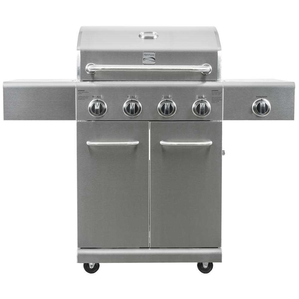 Kenmore 4-Burner Searing Side Burner Gas Grill in Stainless Steel