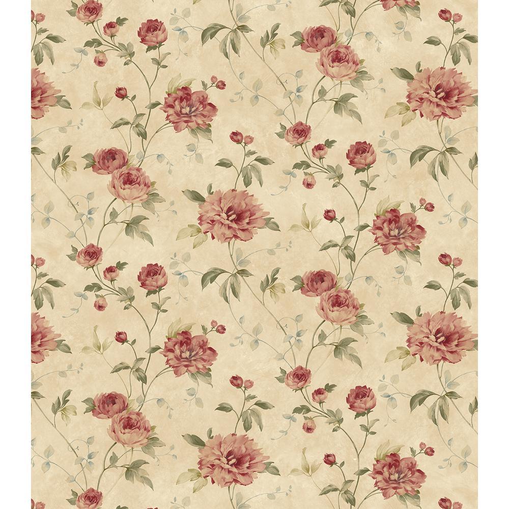 Priscilla Rust Peony Floral Trail Wallpaper