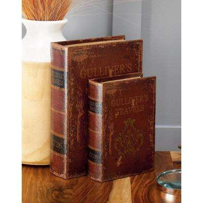 """Vintage Rectangular Wood and Faux Leather """"Gulliver's Travels"""" Book Boxes (Set of 3)"""