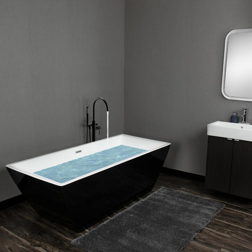 70 in. Fiberglass Black Acrylic Tub for Bathtub with Tub Filler Combo - Modern Flat Bottom Stand Alone Tub