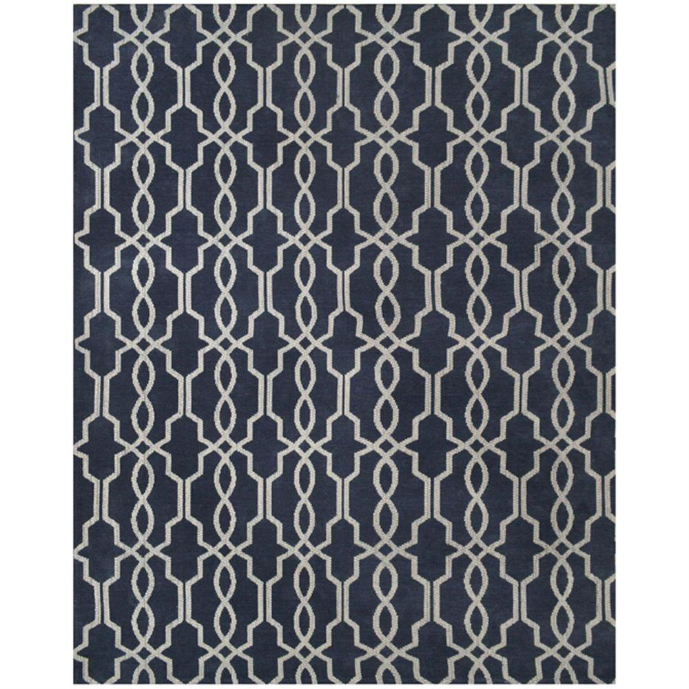 Home Decorators Collection Kingston Geo Navy Ivory 5 Ft X 7 6