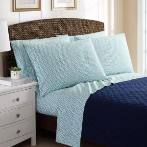 6-Piece Printed Basketweave Queen Sheet Sets by