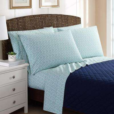 6-Piece Printed Basketweave Queen Sheet Sets