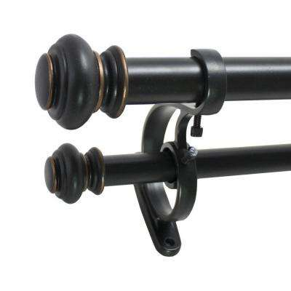 Decopolitan 36 - 72 in. Urn Telescoping Double Drapery Rod Set in Antique Bronze, 7/8 in. Front Rod, 5/8 in. Back Rod