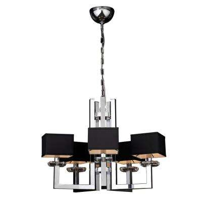 5-Light Polished Chrome Chandelier with Black Fabric Shade and Clear Glass Shade