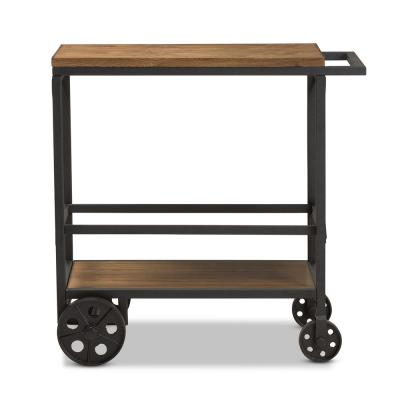 Chester Oak Brown/Black Mobile Serving Cart
