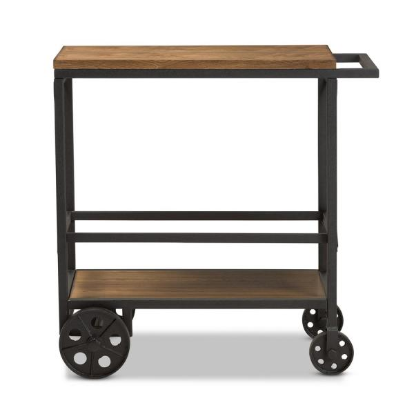 Baxton Studio Chester Oak Brown/Black Mobile Serving Cart 28862-7507-HD
