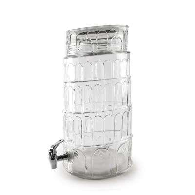 Tower of Pisa 281 oz. Clear Glass Beverage Dispenser