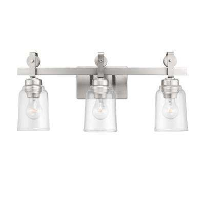 Knollwood 7 in. 3-Light Brushed Nickel Vanity Light with Clear Glass Shades