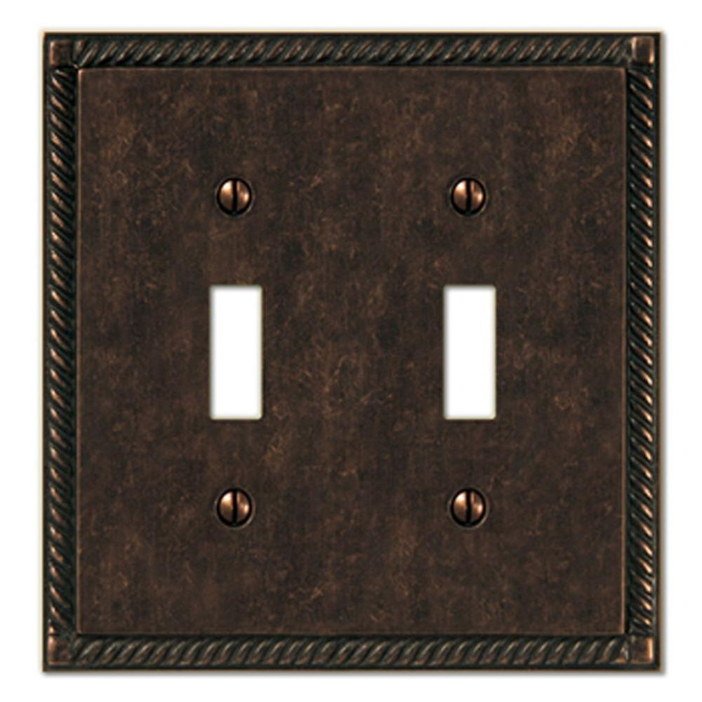Amerelle Georgian 2 Toggle Wall Plate - Aged Bronze-DISCONTINUED