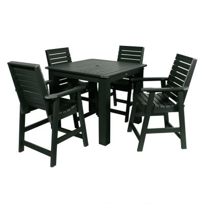 Weatherly Charleston Green 5-Piece Recycled Plastic Square Outdoor Balcony Height Dining Set