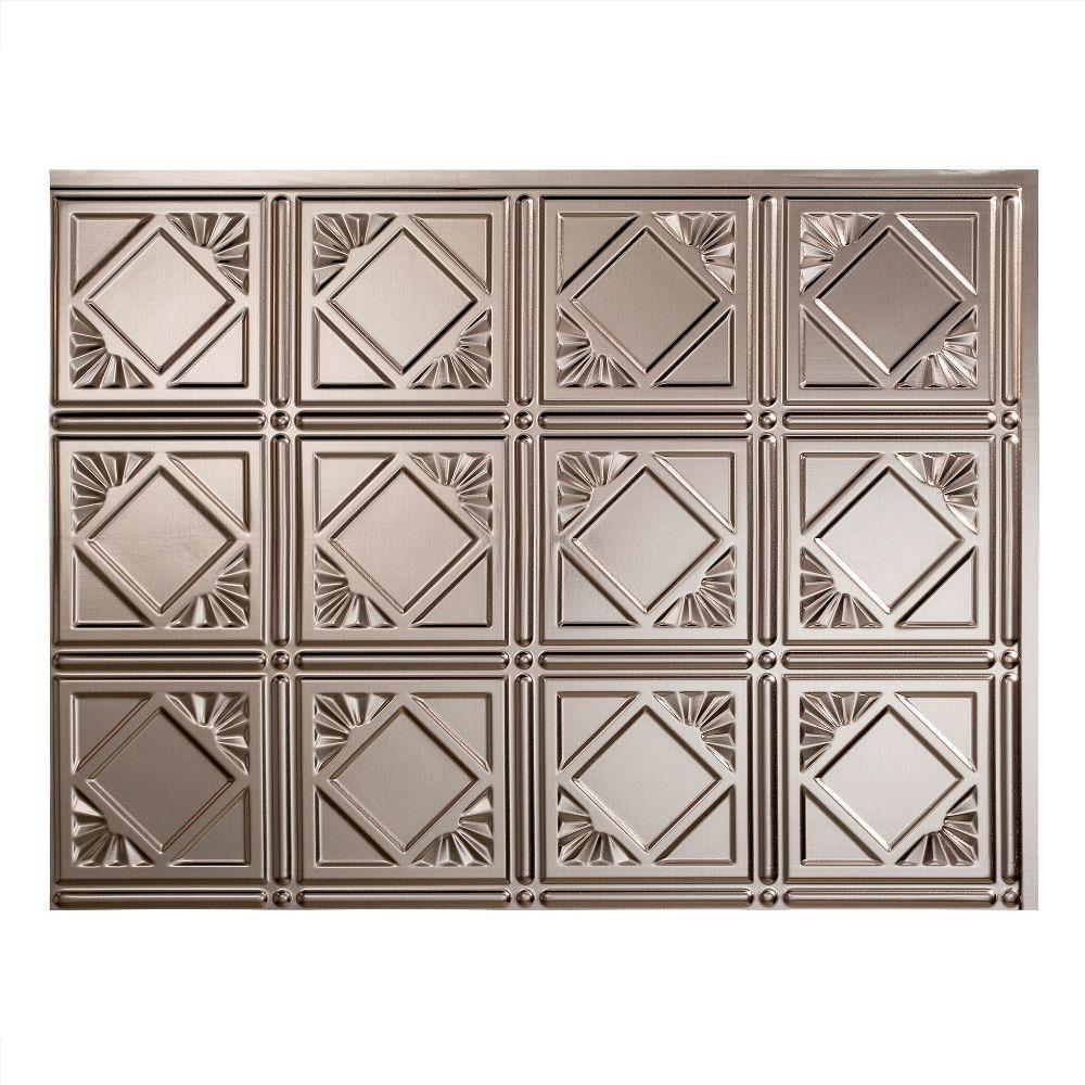 Traditional 4 18 in. x 24 in. Brushed Nickel Vinyl Decorative Wall Tile Backsplash 18 sq. ft. Kit